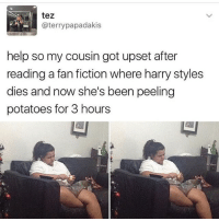 Memes, 🤖, and Cousins: tez  K- @terry papa dakis  help so my cousin got upset after  reading a fan fiction where harry styles  dies and now she's been peeling  potatoes for 3 hours haha this is me.