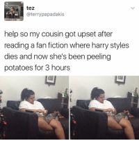 Memes, 🤖, and Bieber: tez  @terry papadakis  help so my cousin got upset after  reading a fan fiction where harry styles  dies and now she's been peeling  potatoes for 3 hours 😂😂 @will_ent - - - - - - - - - - text post textpost textposts relatable comedy humour funny kyliejenner kardashians hiphop follow4follow f4f kanyewest like4like l4l tumblr tumblrtextpost imweak lmao justinbieber relateable lol hoeposts memesdaily oktweet funnymemes hiphop bieber trump