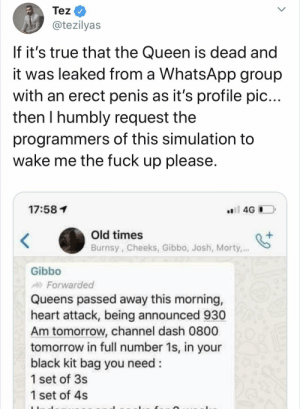 Gibbo with the Scoop of the Century: Tez  @tezilyas  If it's true that the Queen is dead and  it was leaked from a Whats.App group  with an erect penis as it's profile pic...  then I humbly request the  programmers of this simulation  wake me the fuck up please.  ai 4G  17:581  Old times  Burnsy, Cheeks, Gibbo, Josh, Morty,..  Gibbo  Forwarded  Queens passed away this morning,  heart attack, being announced 930  Am tomorrow, channel dash 0800  tomorrow in full number 1s, in your  black kit bag you need:  1 set of 3s  1 set of 4s Gibbo with the Scoop of the Century