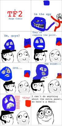 """TF2 Im the spy  Rage Comic  They're  capping the point  Um, guys?  THE POINT  GUYS  I can't do anything  FFFFFFF ing  about the extra panel,  so here's a Medic le """"Tf2 Rage Comics: Control Points"""" rage"""