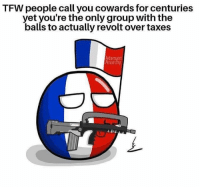 Memes, Tfw, and Taxes: TFW people call you cowards for centuries  yet you're the only group with the  balls to actually revolt over taxes  Adamant  Anarchy (GC)