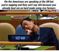 Shit, Tfw, and The Americans: tfw the Americans are speaking at the UN but  you're napping and they can't say shit because you  already beat em on hard mode using rice farmers  VIET NAM