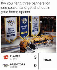 Logic, Memes, and National Hockey League (NHL): tfw you hang three banners for  one season and get shut out in  your home opener  @nhl_ref_logic  IS  REGULAR SEASON  WESTERN  CONFERENCE  CHAMPIONS  2017-18  PRESIDENTS  TROPHY  CENTRAL  DIVISION  CHAMPIONS  2017-18  2017-18  XTi  GHT BRECK  TaA  CAP  ADVI  38  FLAMES  27 SOG  3  FINAL  PREDATORS0  43 SOG Should've just hung the Presidents Trophy banner and called it a day after that sick second round exit