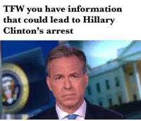 Tfw, Information, and What Does: TFW you have information  that could lead to Hillary  Clinton's arrest