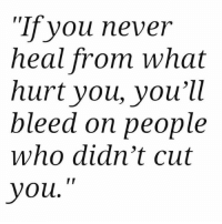 """Never, Who, and You: Tfyou never  heal trom what  hurt you, you'll  bleed on people  who didn't cut  you."""""""