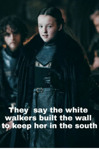 9gag, Chuck Norris, and Dank: Th  hey say the white  walkers built the wall  to,keep her in the south She is like the Chuck Norris of Westeros. https://9gag.com/gag/ax0g012/sc/movie-tv?ref=fbsc