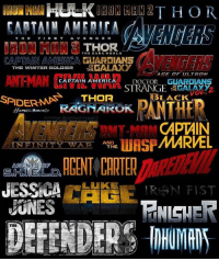 Memes, Winter, and Excite: TH  MEDICA  T H E  FIRS  T  RON MAN THE DARK WORLD  THOR  CAPTAIN AMERICA GUARDIANS A  THE OF  WINTER SCOLDIER  GALAXY  CAPTAIN AMERICA DOCTOR GUARDIANS  STRANGE GATA  THE  LACK  SPIDERMAS  THOR  OM  RAGNAROK  EDITED BY CINEMATICSOURCE  CAPTAIN  MARVEL  WASP  IN FIN I T Y W A R  AND  THE  AGENTS OP  JESSICA  LUKE  DEFENDERS Comment your top 3 favorite films-shows in the MCU or what your most excited for!