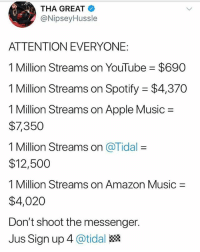 Amazon, Apple, and Memes: THA GREAT  @NipseyHussle  E3  ATTENTION EVERYONE:  1 Million Streams on YouTube = $690  1 Million Streams on Spotify $4,370  1 Million Streams on Apple Music =  $7,350  1 Million Streams on @Tidal =  $12,500  1 Million Streams on Amazon Music  $4,020  Don't shoot the messenger.  Jus Sign up 4 @tidal NipseyHussle breaks down the amounts that popular streaming services pay artists for 1 million streams 👀💰💻 @nipseyhussle @worldstar WSHH