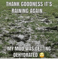 Rain: THANK GOODNESS IT'S  RAINING AGAIN  MY MUD WAS GEITING  DEHYDRATED  made with mematic