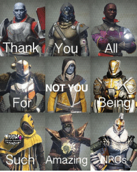 Destiny, Lol, and Meme: Thank YAl  Thank You Al  NOT YOU  For  el  DGM  Such Amazing RO Lol here's the Destiny version Admin Rob {Partners😝} @letsplay_trixie ------------------ destinymeme destinymemes destinyfail destiny crota guardian gamer meme nightfall gamer gamermeme nerd destinythegame ironbanner crucible xur psn xboxone gjallarhorn bungie destinycommunity houseofwolves videogames trialsofosiris thetakenking destinyguardianmeme destinythegame riseofirondlc riseofiron destiny2