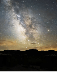 Beautiful, Memes, and Music: Thank you everyone for 400k! Here's a beautiful time lapse of the Milky Way. Repost @shainblumphotography Milky Way gliding over Mono Lake. The Stars were so vivid and beautiful. I used a startracker to follow the Galaxy as it traveled across the sky. The timelapse covered about 6 hours and is made up of 650 still images. Music by @jteveringham