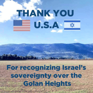 Memes, Thank You, and 🤖: THANK YOU  For recognizing Israel's  sovereignty over the  Golan Heights Thank you!
