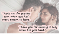 The only thing you can never have too much of is love.  Take a moment to look at these beautiful love quotes and make your loved one feel so special. ➡ http://www.symbols-n-emoticons.com/p/love-quotes.html: Thank you for staying  even when you had  every reason to leave.  Thank you for making it easy  when life gets hard The only thing you can never have too much of is love.  Take a moment to look at these beautiful love quotes and make your loved one feel so special. ➡ http://www.symbols-n-emoticons.com/p/love-quotes.html