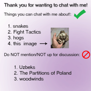 Dank, Thank You, and Chat: Thank you for wanting to chat with me!  Things you can chat with me about!:  1. snakes  2. Fight Tactics  3. hogs  4. this image  Do NOT mention/NOT up for discussion:  1. Uzbeks  2. The Partitio  3. woodwinds  ns of Poland