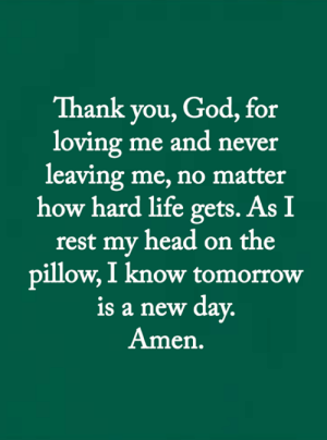 <3: Thank you, God, for  loving me and never  leaving me, no matter  how hard life gets. As I  rest my head on the  pillow, I know tomorrow  is a new day.  Amen. <3