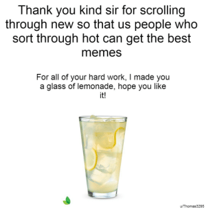 Memes, Work, and Thank You: Thank you kind sir for scrolling  through new so that us people who  sort through hot can get the best  memes  For all of your hard work, I made you  a glass of lemonade, hope you like  it!  u/Thomas3295 Thank you kind redditors!