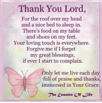 My Only Hope Is Always God & He Never Disappoints Me. Amen 🙊🙉🙈: Thank You Lord,  For the roof over my head.  and a nice bed to sleep in  There's food on my table  and shoes on my feet.  Your loving touch is everywhere.  Forgive me if I forget  my great blessings,  if ever I start to complain.  nly let me live each day  full of praise and thanks  immersed in Your Grace  The Essence Of Life My Only Hope Is Always God & He Never Disappoints Me. Amen 🙊🙉🙈