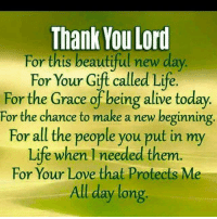 thank you lord: Thank You Lord  For this beautiful new day  For Your Gift called Life.  For the Grace of being alive today.  For the chance to make a new beginning  For all the people you put in my  Life when needed them.  For Your Love that Protects Me  All day long