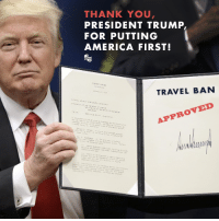 America, Supreme, and Supreme Court: THANK YOU  PRESIDENT TRUMP  FOR PUTTING  AMERICA FIRST!  TRAVEL BAN  APPROVED President Trump is working tirelessly to protect America from the threats we face from radical Islamic groups. The Travel Ban approved by the Supreme Court will help secure our borders and adopt tougher measures to counter terrorism.  LIKE if you agree President Trump is doing a great job!