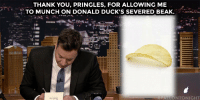 """THANK YOU, PRINGLES, FOR ALLOWING ME  .TO MUNCH ON DONALD DUCK'S SEVERED BEAK.  FALLONTONIGHT <p><a href=""""https://www.youtube.com/watch?v=NDJI-UIn8a8&amp;index=2&amp;list=UU8-Th83bH_thdKZDJCrn88g"""" target=""""_blank"""">Jimmy takes some time to write his weekly thank you notes!</a></p>"""