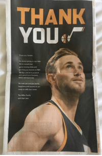 Af, All Star, and Family: THANK  YOU  Thank you, Gordon  For always giving us your best  We've enjoyed your  watching you become an NBA  All-Star, and we're proud af  your growth as a husband  father and teammate  We wish you and your family  happliness and success as you  move on with your career  The Miller Famiy  and Utah Jazz Jazz say thank you to Gordon Hayward (via ESPNForsberg/Twitter)