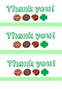 Girl Scout cookie thank you card printables: Thank you!  Thank you!  Thank you! Girl Scout cookie thank you card printables