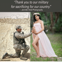 """Ariel, Memes, and News: Thank you to our military  for sacrificing for our country.""""  Jennifer Ariel Photography  JenniferAriel2botoaraphy  NEWS Veronica Phillips has been miles apart from her husband, Brandon, as he serves his country, but she has remained connected with him through a series of heartwarming photos. In one of the images, shot by photographer Jennifer McMahon of @jenniferarielphotography, Phillips is shown caressing her baby bump while wearing a flowing, open-belly pink gown and flower crown, as Brandon reaches over from where he's stationed to also touch her growing belly. For another, Phillips dons Brandon's military jacket and holds his dog tags. ProudAmerican"""