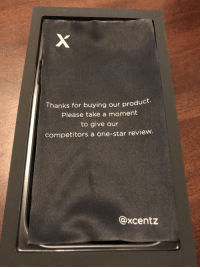 Phone, Star, and Box: Thanks for buying our product.  Please take a moment  to give our  competitors a one-star review.  @xcentz The inside of the box for a phone case I received