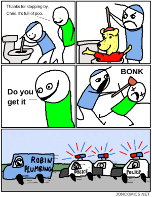 Police, Net, and Robin: Thanks for stopping by,  Chris. It's full of poo.  BONK  Do you  get it  ROBIN  PLUMBING-  POLIC  POLICE  JONCOMICS.NET The Plumber