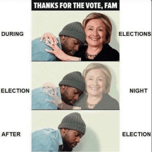 """Fam, Tumblr, and Blog: THANKS FOR THE VOTE, FAM  DURING  ELECTIONS  ELECTION  NIGHT  AFTER  ELECTION fullpraxisnow: """"Because voting is limited to a specific point in time, politicians are only truly accountable to the general public in the months leading up to an election. This means that for the rest of their term politicians are primarily concerned with the needs of special interests groups, lobbyists, and their funders rather than working class people. Effectively, they can ignore the needs and popular will of the electorate until it is politically expedient."""" –Organize or Die:Never in the History of the World has an Election Destroyed a System of Oppression"""