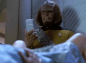 Instagram, Photo, and Worf: Thanks, I hate Worf taking a photo of Keiko's vag for his Instagram