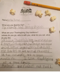 Animals, Anime, and Food: Thanks  Name  lohnes  Colin What are you thankful fo  My Belha  What are your Thanksgiving Day traditions?  (where do you go, who is with you, what do you eat, what  do you do)  eat tut Key or any animal products!  Ah Mals abefre lads not food