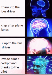 "Dank, Meme, and Via: thanks to the  bus driver  clap after plane  lands  clap to the bus  driver  invade pilot's  cockpit and  thanks to the  pilot <p>200IQ via /r/dank_meme <a href=""https://ift.tt/2N6bAY7"">https://ift.tt/2N6bAY7</a></p>"