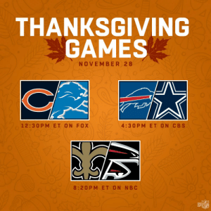 Football, Memes, and Nfl: THANKSGIVING  GAMES  NOVEMBER 28  4:30 P M ET ON CBS  12:30 PM ET ON FOX  8:20PM ET ON NBC  @叩  NFL Full day of football + full stomach = Thanksgiving Day 2019!  🦃  #NFLScheduleRelease https://t.co/HPIcbuw2ap