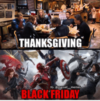 Someone else probably did this before, but oh well... Also, I'm back… If anyone cares • • • - Superior Spider-Man captainamericacivilwar captainamerica civilwar blackpanther blackwidow falcon spiderman spidermanhomecoming vision antman wasp wintersoldier scarletwitch quicksilver hawkeye hulk thor thorragnarok gotg guardiansofthegalaxy doctorstrange avengers avengersinfinitywar marvelcomics marvelmovies: THANKSGIVING  IG: @marvel memes  BLACK FRIDAY  HAWAA Someone else probably did this before, but oh well... Also, I'm back… If anyone cares • • • - Superior Spider-Man captainamericacivilwar captainamerica civilwar blackpanther blackwidow falcon spiderman spidermanhomecoming vision antman wasp wintersoldier scarletwitch quicksilver hawkeye hulk thor thorragnarok gotg guardiansofthegalaxy doctorstrange avengers avengersinfinitywar marvelcomics marvelmovies