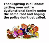 #jussayin: Thanksgiving is all about  getting your entire  dysfunctional family under  the same roof and hoping  the police don't get called. #jussayin