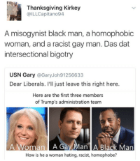 Blackpeopletwitter, Thanksgiving, and Black: Thanksgiving Kirkey  @ILLCapitano94  A misogynist black man, a homophobic  woman, and a racist gay man. Das dat  intersectional bigotry  USN Gary @GaryJoh91256633  Dear Liberals. I'll just leave this right here.  Here are the first three members  of Trump's administration team  A Woman A Gay Man A Black Man  How is he a woman hating, racist, homophobe? <p>There&rsquo;s only salt in this cabinet (via /r/BlackPeopleTwitter)</p>