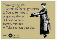 Memes, 🤖, and Bingo: Thanksgiving list:  l Spend $200 on groceries  2. Spend ten hours  preparing dinner  3. Food eaten in  twenty minutes  4. Take six hours to clean  somee cards  user card Bingo! Please visit and LIKE Funny Vixen ~