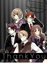 m-ariazell: A drawing I did to celebrate 200 watchers on Deviantart. Austria, Hungary, America, Ukraine, and Romano, ready to celebrate. :)  Although America may have missed the memo about formal wear… : ThankYou m-ariazell: A drawing I did to celebrate 200 watchers on Deviantart. Austria, Hungary, America, Ukraine, and Romano, ready to celebrate. :)  Although America may have missed the memo about formal wear…