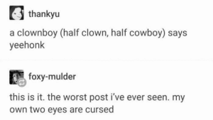 The Worst, Cowboy, and Hope: thankyu  a clownboy (half clown, half cowboy) says  yeehonk  foxy-mulder  this is it. the worst post i've ever seen. my  own two eyes are cursed I hope you can one day forgive me for sharing this