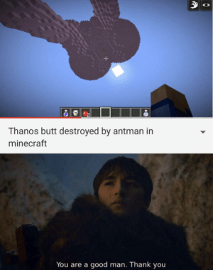 Butt, Minecraft, and Thank You: Thanos butt destroyed by antman in  minecraft  You are a good man. Thank you He clapped his cheeks