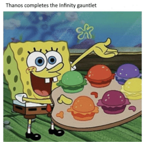 Infinity, Thanos, and Gauntlet: Thanos completes the Infinity gauntlet ThanosBob