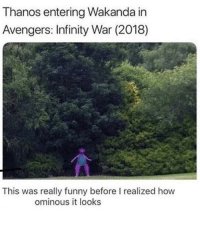 the real villain in infinity war: Thanos entering Wakanda in  Avengers: Infinity War (2018)  This was really funny before I realized how  ominous it looks the real villain in infinity war