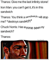 "Chuck Norris, Iron Man, and Infinity: Thanos: Give me the last infinity stone!  Iron Man: you can't get it, it's in this  sandwich  Thanos: You think a sandwich wil stop  me? ""destroys sandwich*  Chuck Norris: Has anyone seen my  sandwich?  Thanos:  bearboo I have a plan"