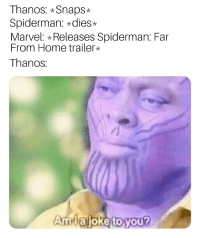 me irl: Thanos: *Snaps*  Spiderman: *dies  Marvel: Releases Spiderman: Far  From Home trailer*  Thanos  Amiajoke to you? me irl