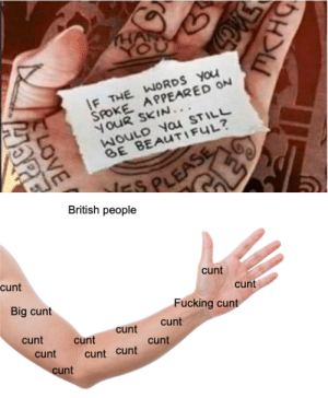 Beautiful, Fucking, and Love: THAR  YOU  IF THE WORDS You  SPOKE APPEARED ON  oUR SKIN...  WoUlD yau STILL  BE BEAUTIFUL?  S PLEASE  British people  -cunt  cunt  cunt  Big cunt  Fucking cunt  cunt  cunt  cunt  cunt  cunt  cunt  cunt cunt  cunt  MKHG  LOVE  HORE wheres the fucking teeeeeeeaaaaaaa cunt