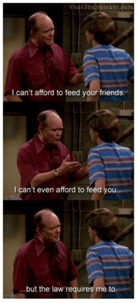 Friends, Memes, and That 70s Show: tharzostumbe.com  I can't afford to feed your friends  I can't even afford to feed you  but the law requires me to That '70s Show (Official)