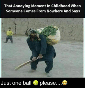 Memes, Annoying, and 🤖: That Annoying Moment In Childhood When  Someone Comes From Nowhere And Says  Just one ball please.