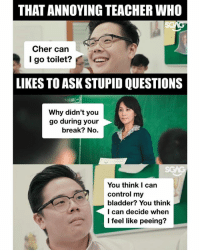 Cher, Memes, and Teacher: THAT ANNOYING TEACHER WHO  Cher can  I go toilet? C  LIKES TO ASK STUPID QUESTIONS  Why didn't you  go during your  break? No.  You think I can  control my  bladder? You think  I can decide when  I feel like peeing? Some teachers really PEEs me off! 😡😡