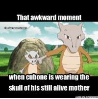 That awkward moment  Pokemon Memes  When Cubone wearing the  skull of his still alivemother Cubone's awkward moment!